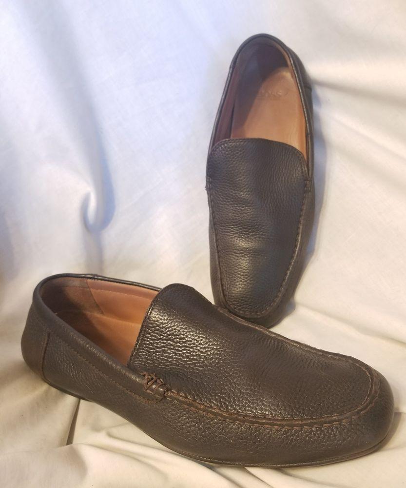 4b5ef77356f Boss Hugo Boss black line mens shoes sz 10 M Miara brown leather loafer  moccasin