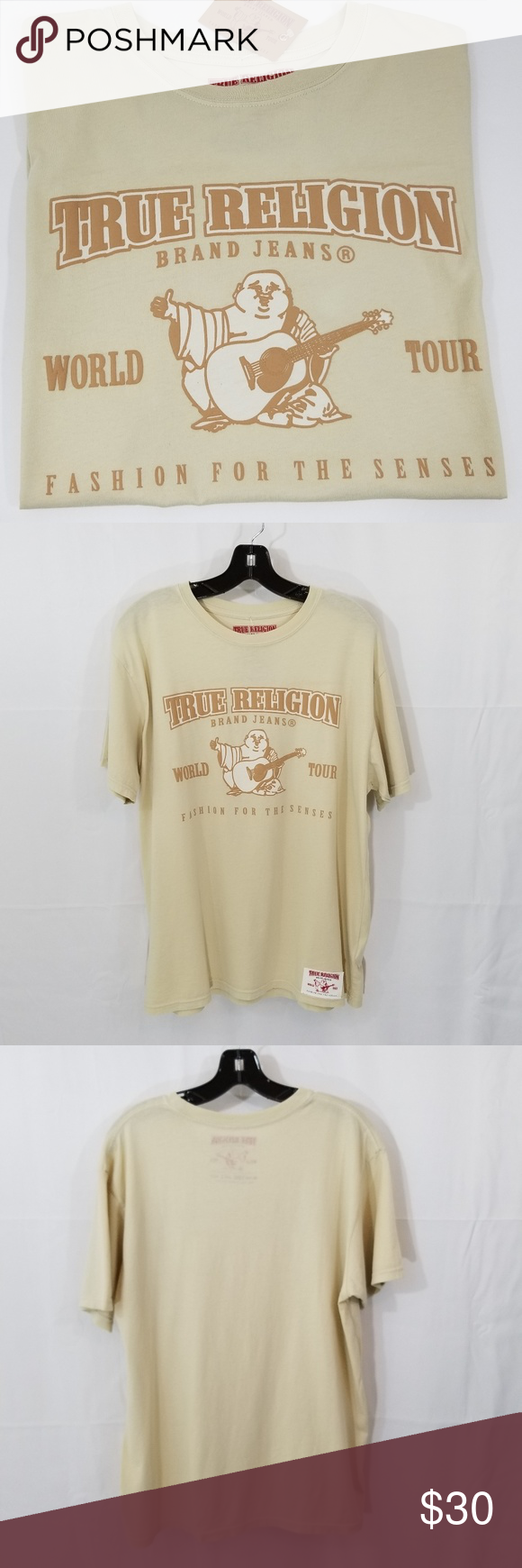 42bf195e876 TRUE RELIGION Mens T-Shirt Graphic Tee Tan New Lg Men s Authentic True  Religion T