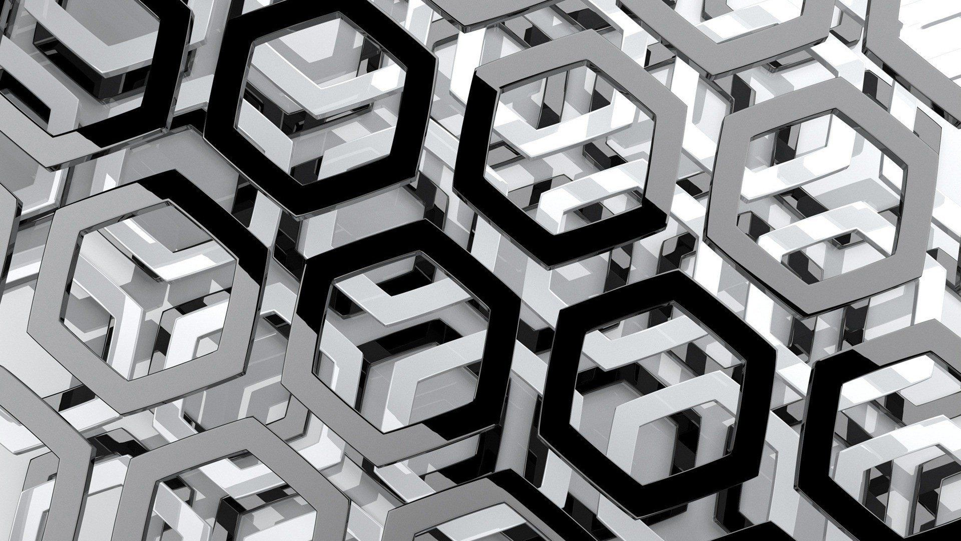 Abstract Black And White Hexagons Monochrome Wallpaper 1920x1080 303281 Wallpaperup Hexagon Wallpaper Silver Hexagon Wallpaper Black Wallpaper