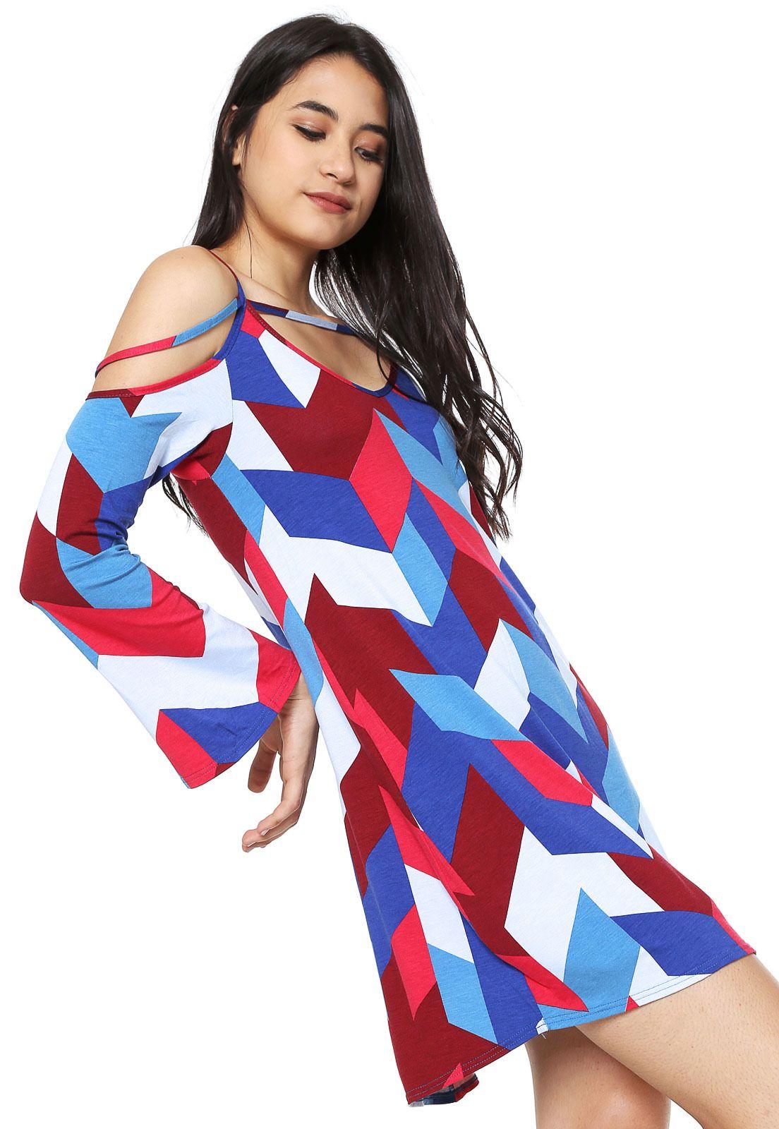 39c308f2692f Vestido Malwee Curto Estampado Azul/Vermelho | Products | Vestidos ...