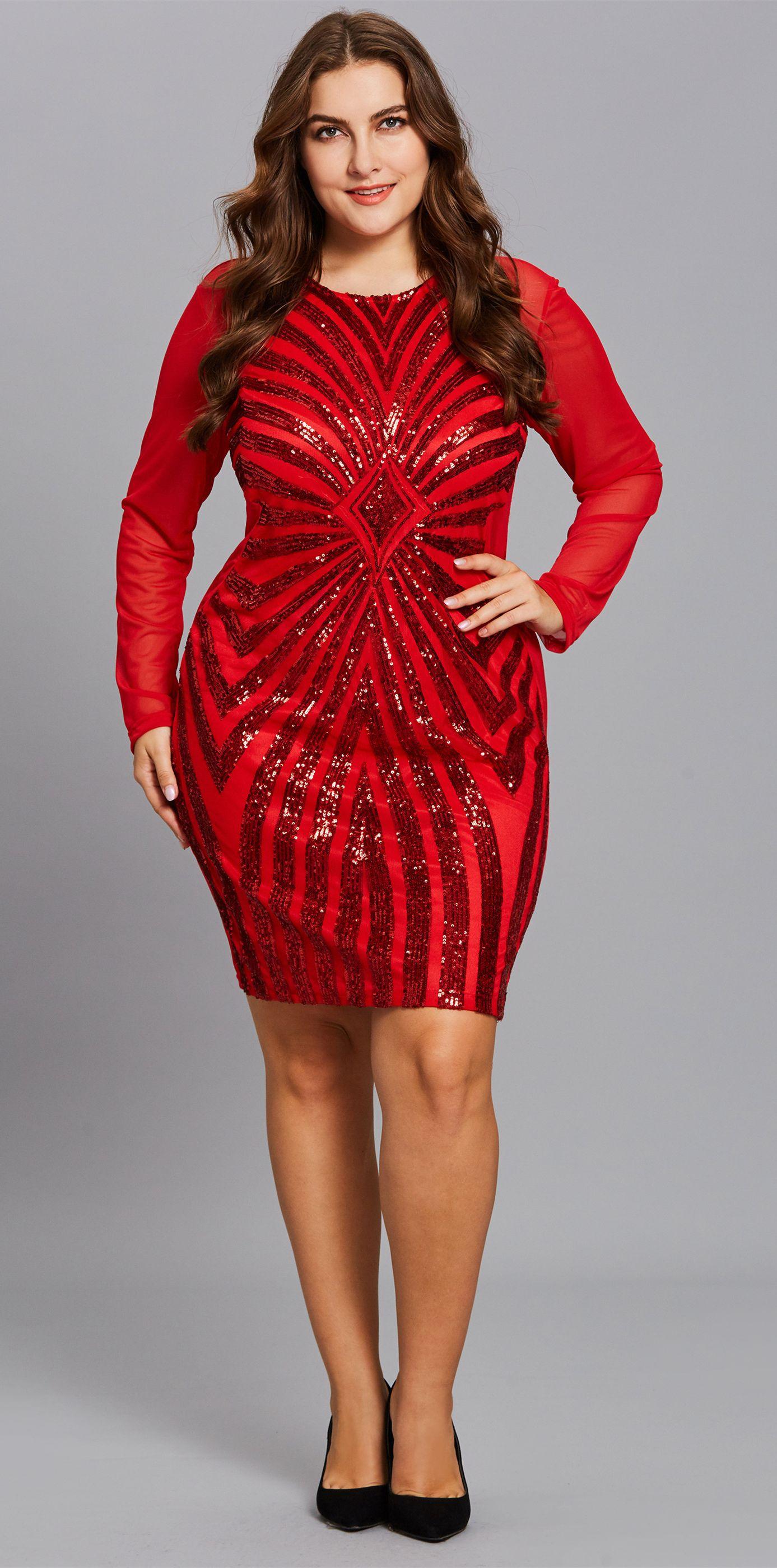 Material Cotton Blends  Silhouette Bodycon  Dress Length Knee-Length  red   dress  reddress  fashion  plussize bc190242d