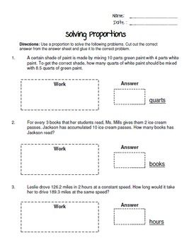 Writing And Solving Proportions Cut And Paste Worksheet 6 8