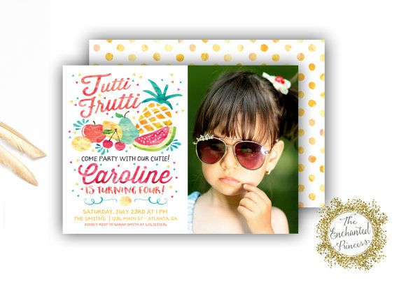 Twotti Frutti Photo Birthday Invitation - Tutti Fruity Themed Party - Fruit Invite Party Theme