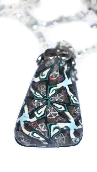 Kaleidoscope  polymer clay pendant  by AbandonedAtticCrafts, $18.00