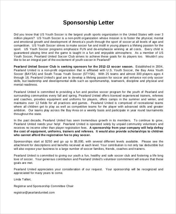 letter sample tryout rejection sports team sponsorship photos - example of sponsorship letter