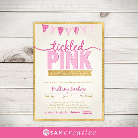 Tickled pink baby shower invitation pink baby shower gold baby tickled pink baby shower invitation pink baby by samcreative filmwisefo