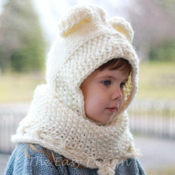 Knitting pattern, Patron tricot – Bobby Bear Hooded Cowl Hood (12/18 ...