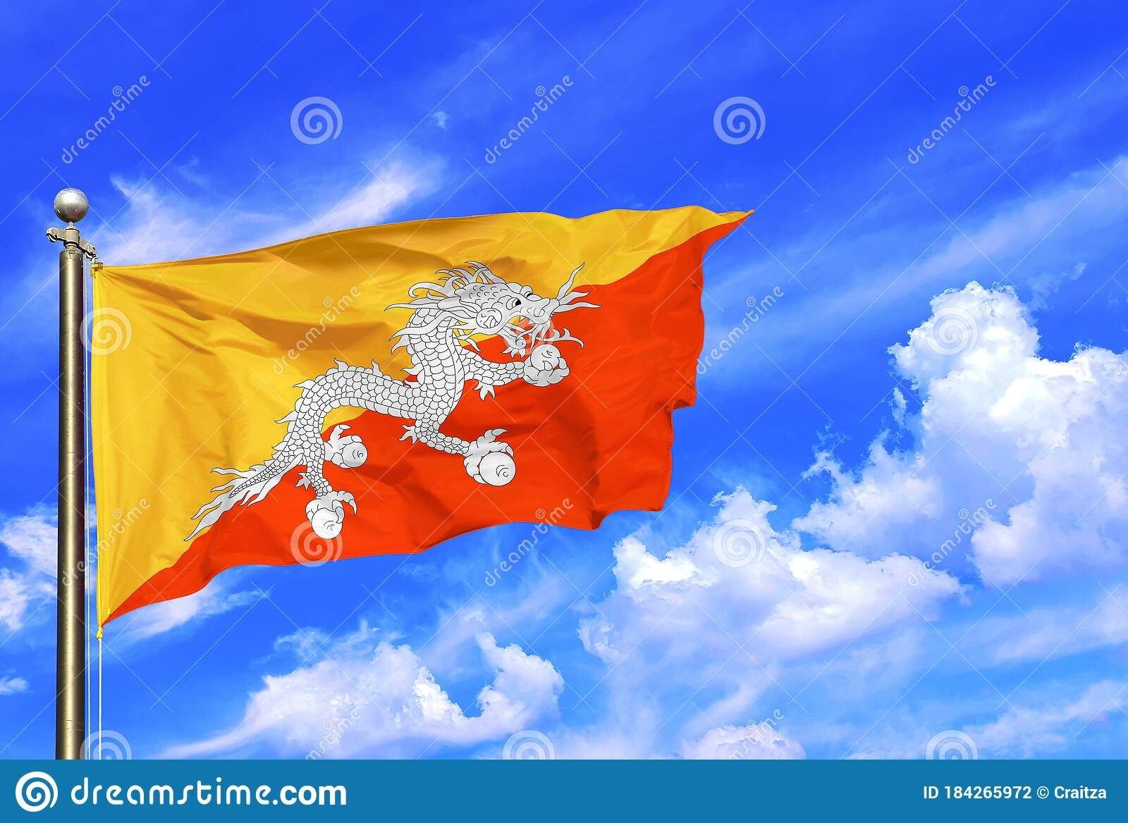 Bhutan Yellow Orange White Dragon National Flag Waving In The Wind On A Beautiful Summer Blue Sky In 2020 Summer Blue Bhutan Flag White Dragon