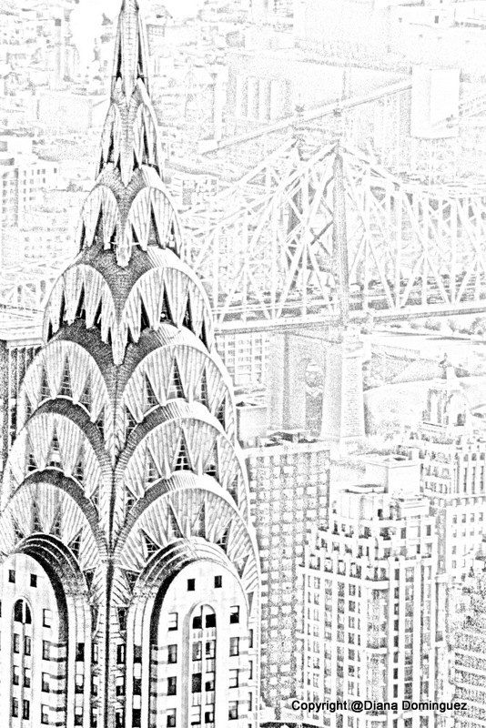 Nyc Chysler Building Sketch 8x10 Abstract Drawing New York City