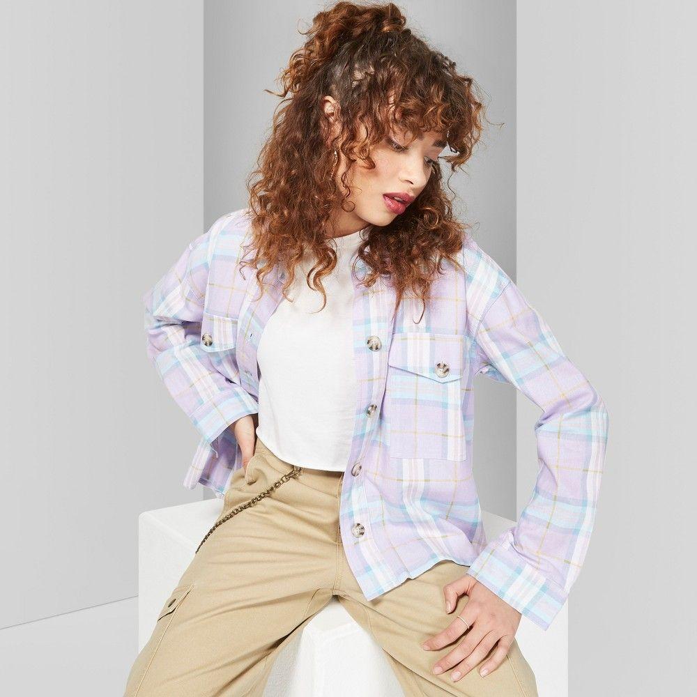 c56606b1 Women's Plaid Long Sleeve Button-Down Shirt - Wild Fable Stormy Gray XS,  Purple