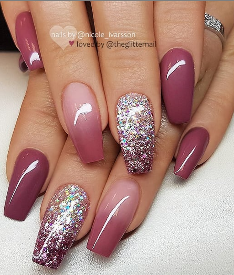 46 Elegant Acrylic Ombre Burgundy Coffin Nails Design For Short And Long Nails Simple Fall Nails Fall Nail Art Designs Wine Nails,White Interior Design Office