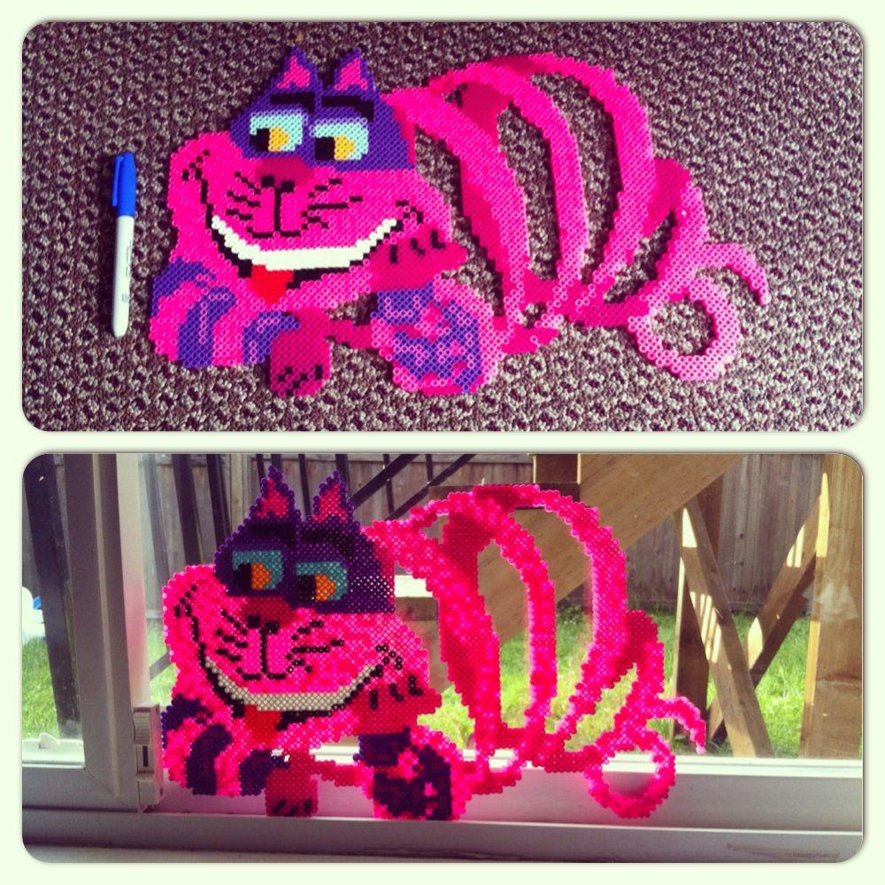 Alice in wonderland cheshire cat perler beads by dana for Alice in wonderland crafts
