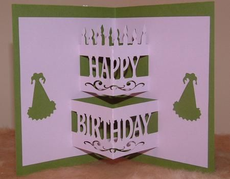 Birthday Cake Pop up STUDIO on Craftsuprint designed by Rae Carr – Pop Up Birthday Cake Card Template