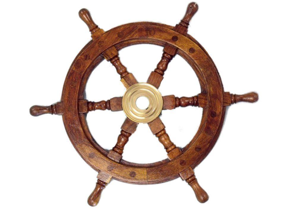 Classic Wooden Ship Steering Wheel In 2020 Nautical Wall Decor Wheel Clock Clock Wall Decor