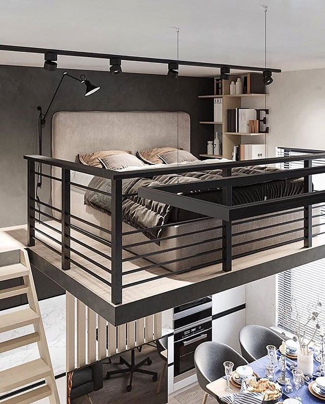 Interior Design Decor Sur Instagram Industrial Loft In Bialystok Poland Author Bedroom Bed Des In 2020 Loft Interior Design Loft Design Small Room Design
