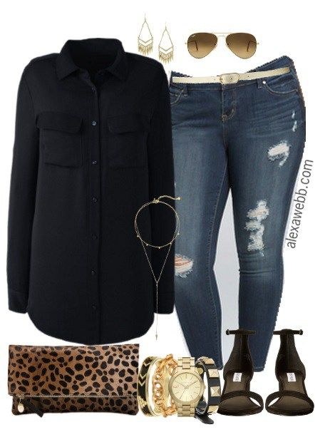 0b693c9cc25b1 Plus Size Black Shirt Outfit - Plus Size Fashion for Women - alexawebb.com