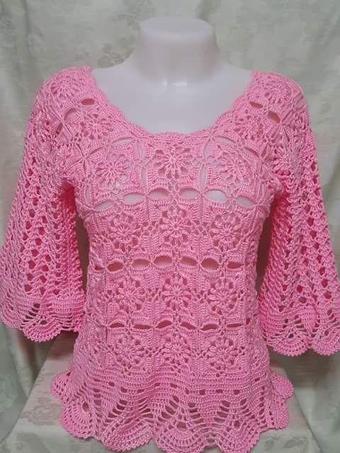 Ver esa hermosa blusa toda hecha a mano en los patrones de ganchillo ...