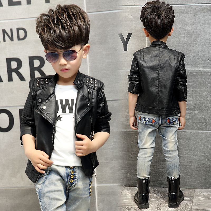 9cfa8e1e8e Adolescente de La Muchacha Muchachos Niños Chaqueta De Cuero Casual Negro  Sólido ropa de Abrigo Niños
