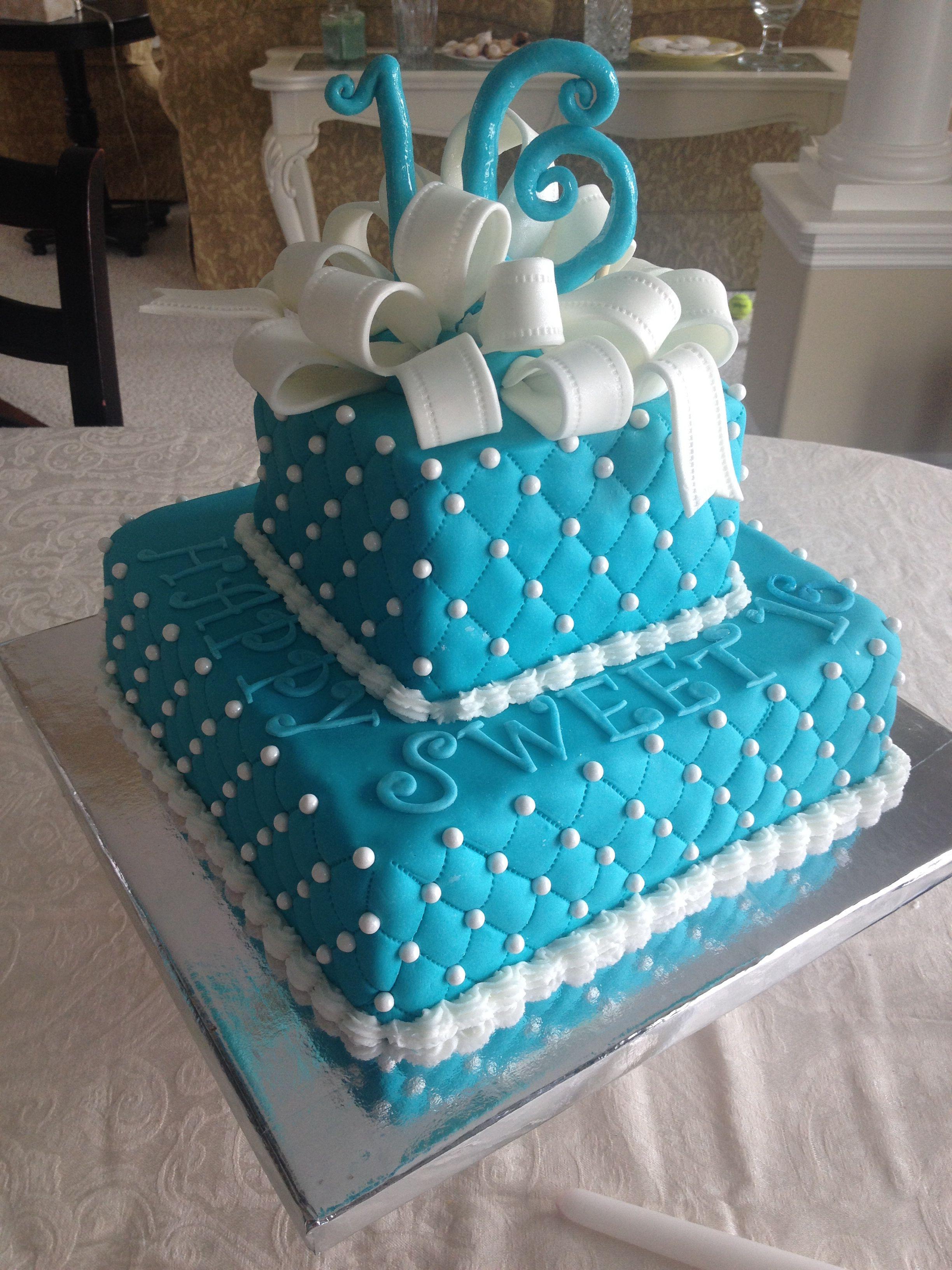 Tiffany Blue Sweet 16 Birthday Cake