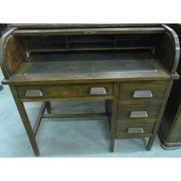 Buro antiguo en madera nogal con persiana colecci n de for Muebles auxiliares clasicos madera