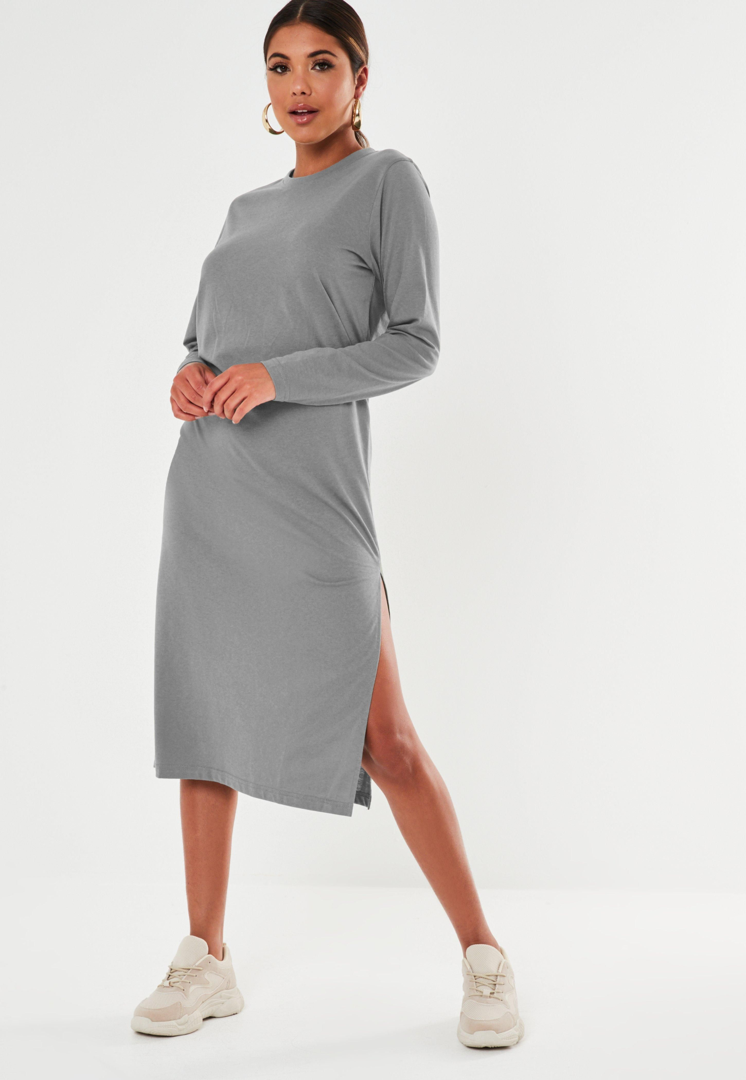 Dark Gray Basic Long Sleeve Midi T Shirt Dress #Sponsored #Basic ...