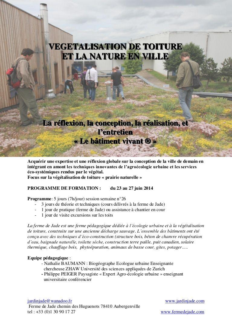 Végétalisation De Toiture Et Nature En Ville Formation 5 Jours