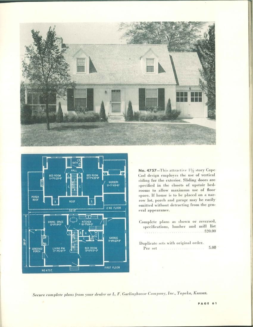 Cape Cod Style 1 1 2 Story Plan From Garlinghouse 1940 The Full