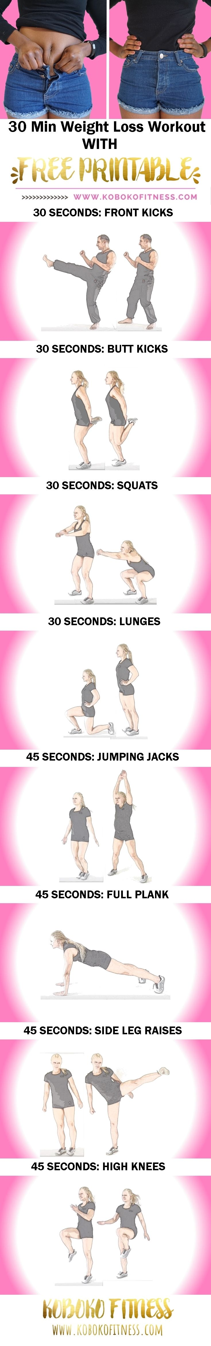 The Best 30 Min Weight Loss Workout (+ Free Printable Download ...