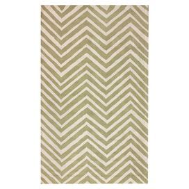 "Bring a pop of pattern to your living room or den with this eye-catching wool rug, featuring a contemporary chevron motif in green.   Product: RugConstruction Material: WoolColor: GreenFeatures: Hand-hookedPile Height: 0.5"" Note: Please be aware that actual colors may vary from those shown on your screen. Accent rugs may also not show the entire pattern that the corresponding area rugs have."