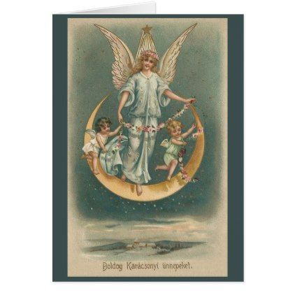 Vintage Hungarian Angels Christmas Greeting Card - christmas cards