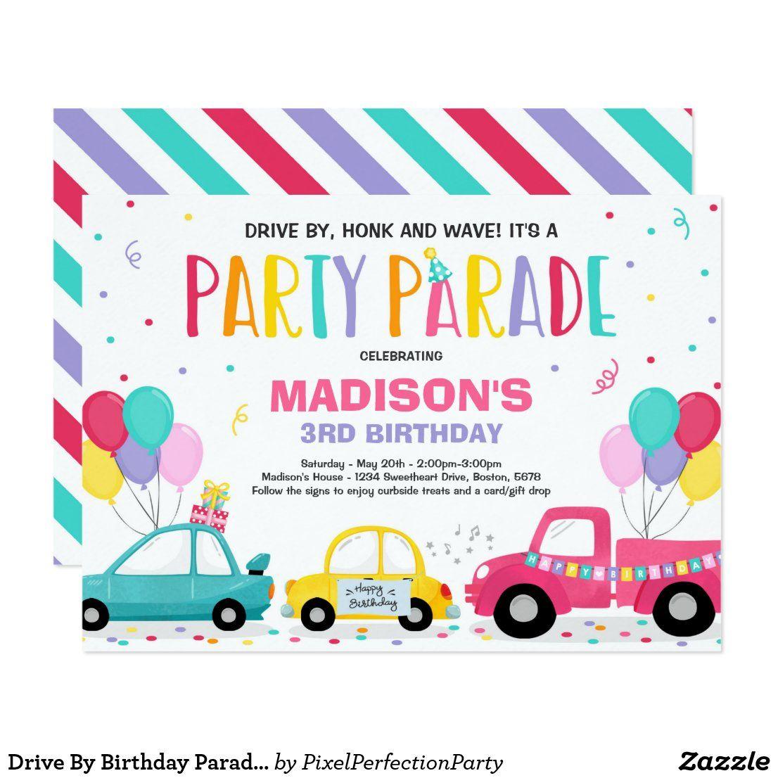 Drive By Birthday Parade Invitation Pink Parade Zazzle