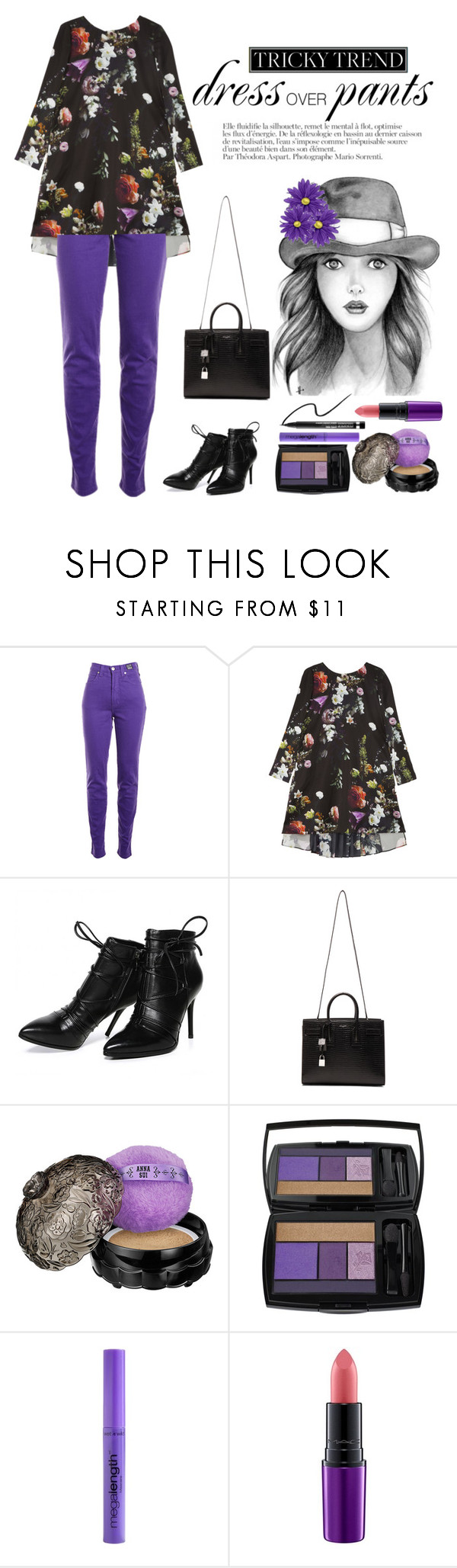 """""""Tricky Trend: Dress and Pants"""" by saifai ❤ liked on Polyvore featuring Anja, Versace Jeans Couture, ADAM, Morea, Yves Saint Laurent, Anna Sui, Lancôme, Wet n Wild, MAC Cosmetics and Clinique"""
