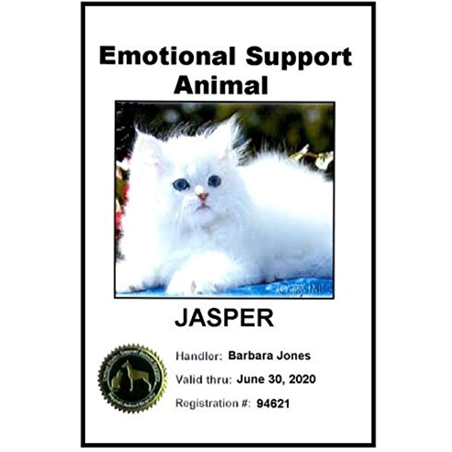 "Emotional Support Animal ID Card (""A"" rating from Better"