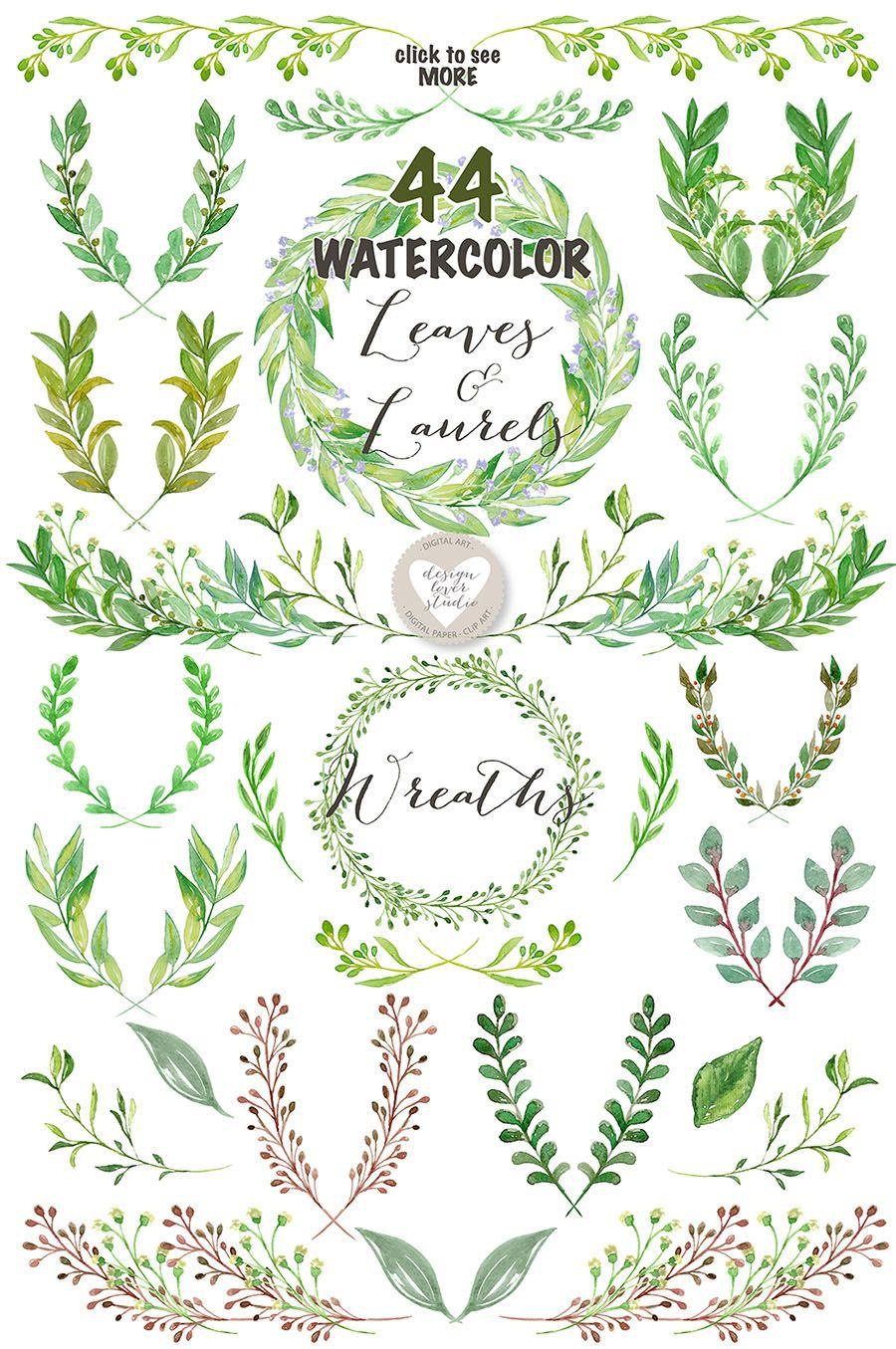 Watercolor Leaves, Laurel and Wreath