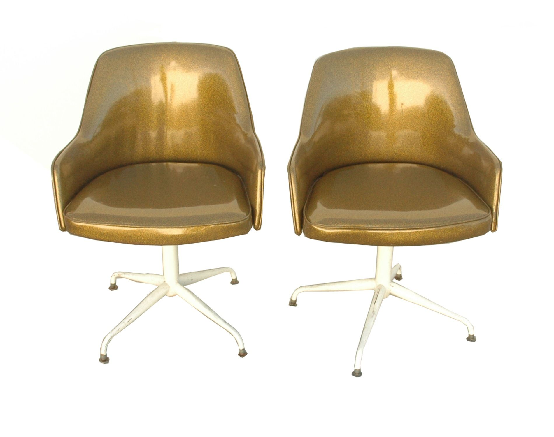 Mid Century Modern Gold Padded Swivel Chairs set of 2