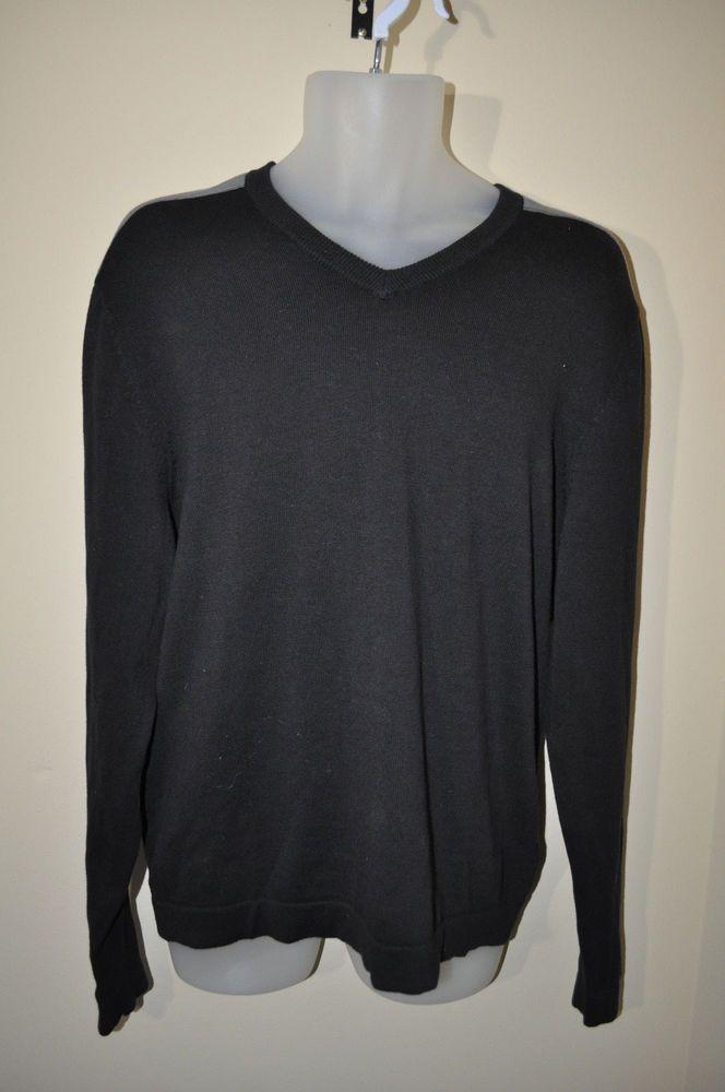 NWT Kenneth Cole Black Long-Sleeve V-neck Men's Pullover Sweater Large L  #KennethColeReaction #VNeck
