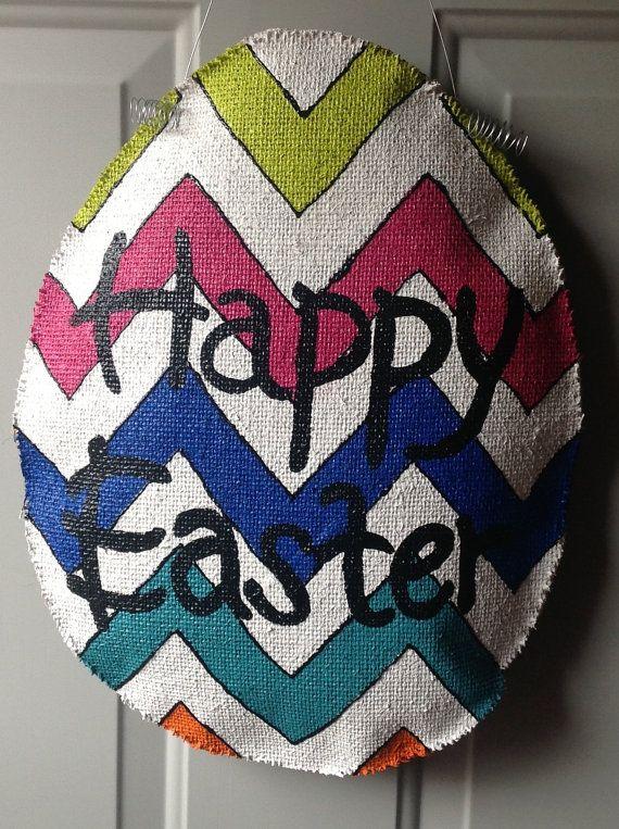 Happy Easter Egg Burlap Door Hanger Easter eggs, Happy