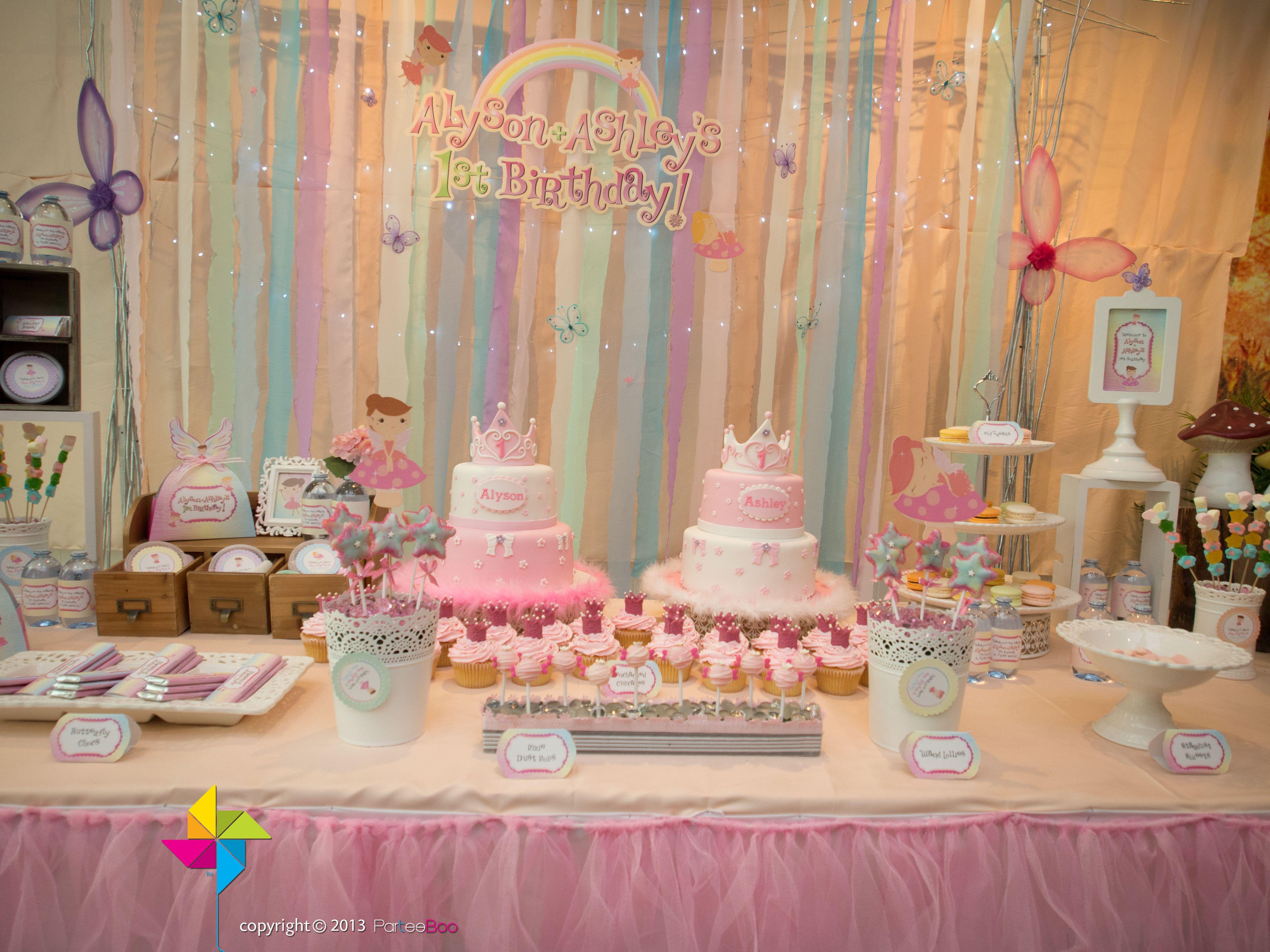 Backdrop cake candy table for a Pastel Rainbow Fairy themed