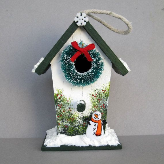 Christmas Birdhouse Decoration by sanquicreations on Etsy ...