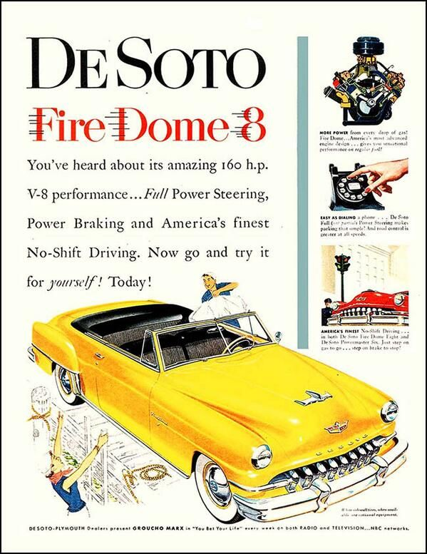 Desoto ad showing new car features