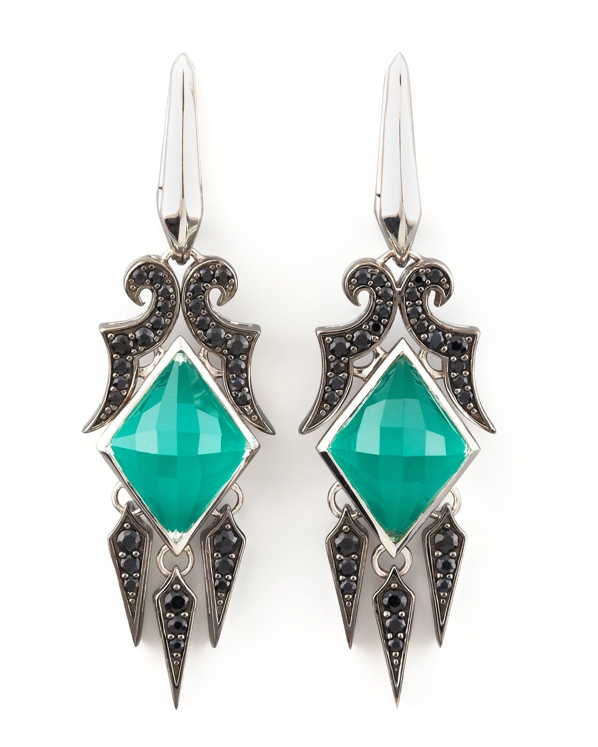 Glowing green, simulated chrysoprase overlaid with intensely faceted clear quartz and surrounded by darkly sparkling black sapphires gives these Stephen Webster earrings a misty, mysterious sensibility.