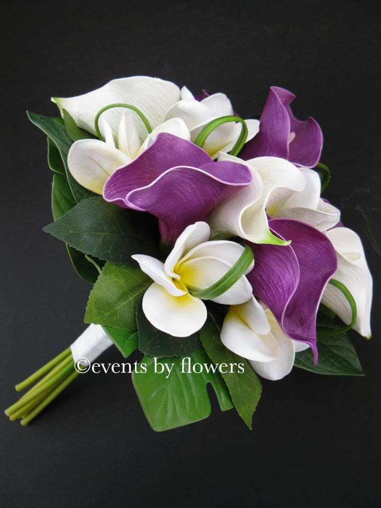 Purple calla lily plumeria frangipani wedding bouquet Good Morning