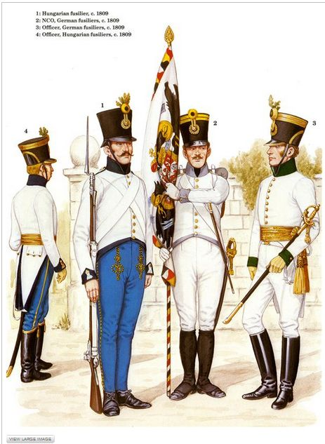 Austrian Infantry 1809 L To R Hungarian Line Regt Officer