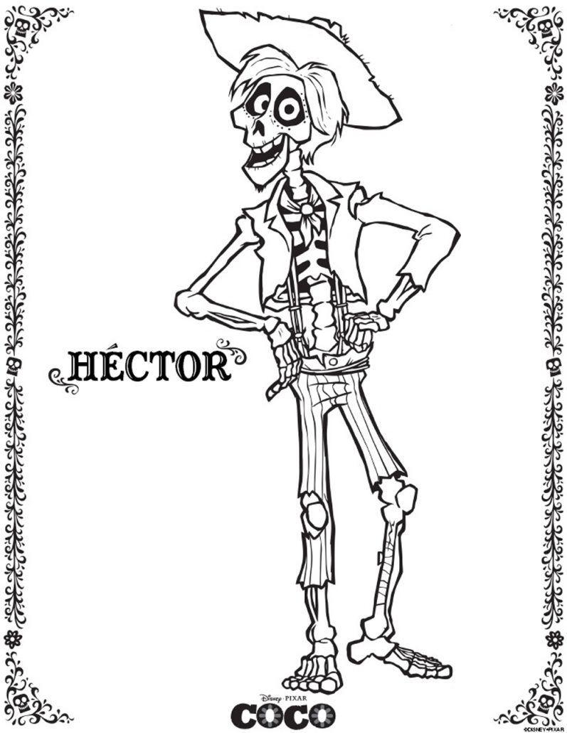 Coco imagen para colorear de hector de la pelicula disney pixar
