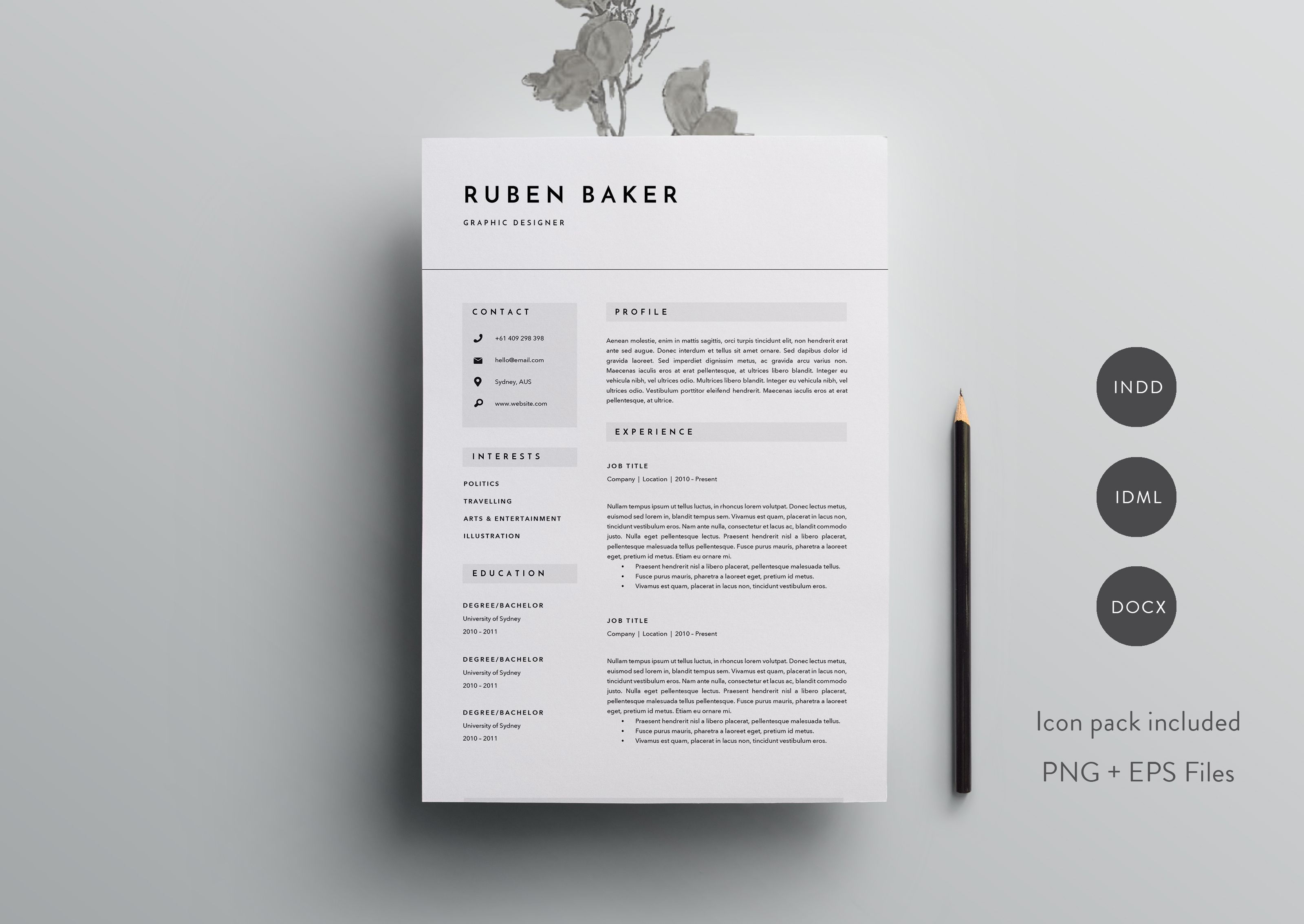 3 Page Resume Template   INDD + DOCX by Basic Creations on @creativemarket