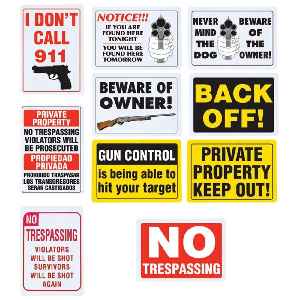 10 PIECE ASSORTED NO TRESPASSING SIGN SET FOR HOME, RANCH, OFFICE ...