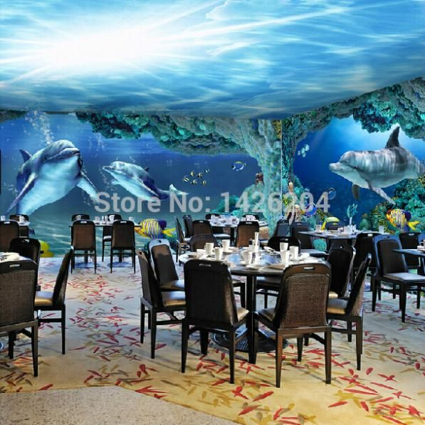 Pas cher 3D Sea world papier peint de grandes peintures murales pour