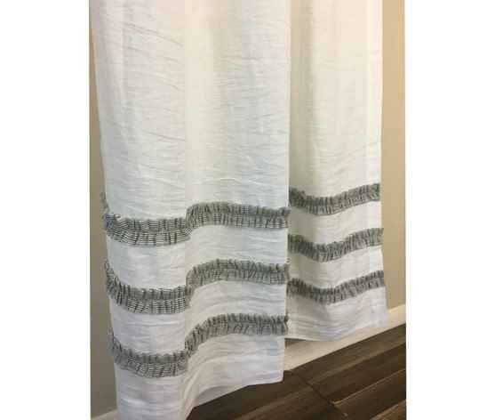 White Linen Shower Curtain With Black And Ticking Striped