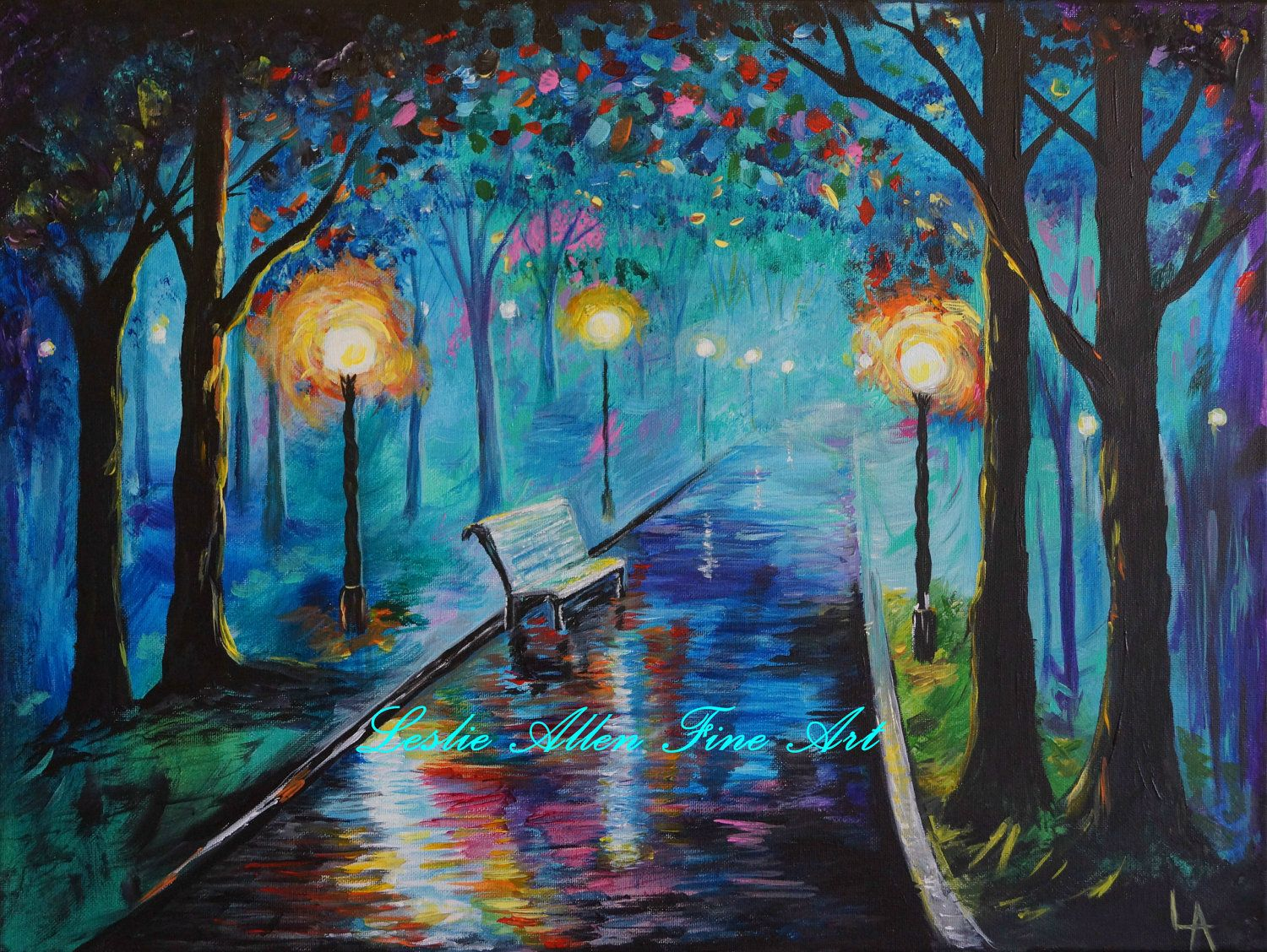 Park path pathway bench abstract lighted night scene lights trees bright lighted park path original painting 85 00 via etsy