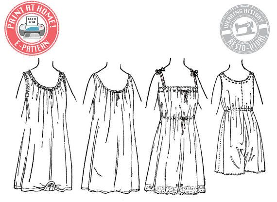E-Pattern- Circa 1917 Combination Underwear & Chemise - Wearing ...
